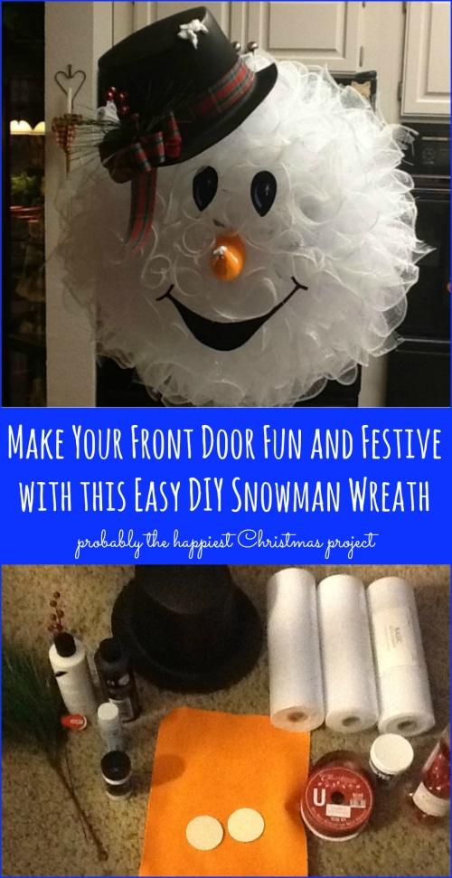 Make Your Front Door Fun and Festive with this Easy DIY Snowman Wreath {Probably the cutest Christmas project!}