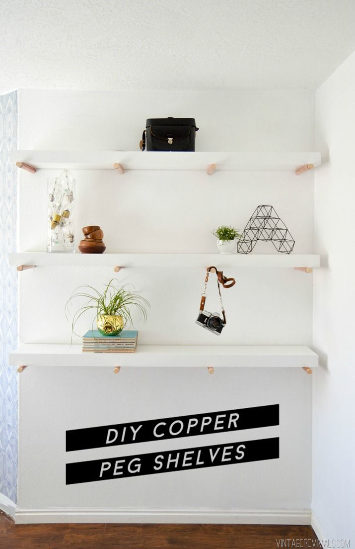 Copper peg shelves