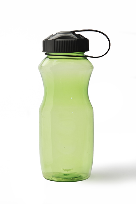 A green trasparent water bottle on white background - product photography styles