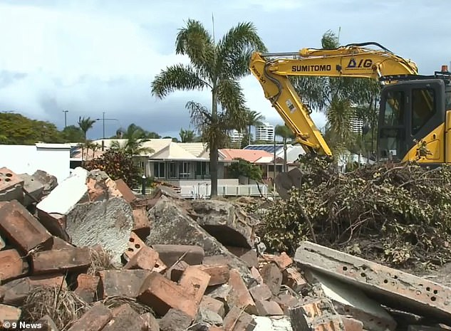 The bizarre affair began when Mr Bruggy and Mr Boyd were demolishing a house, swimming pool, and tennis court in Lae Drive, Runaway Bay, on the Gold Coast