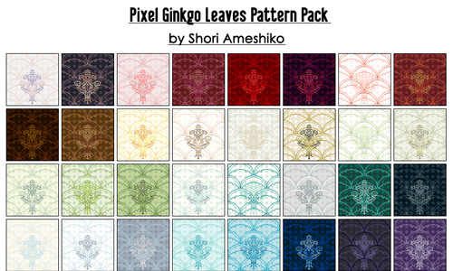 Pixel Ginkgo Leaves Pattern Pack