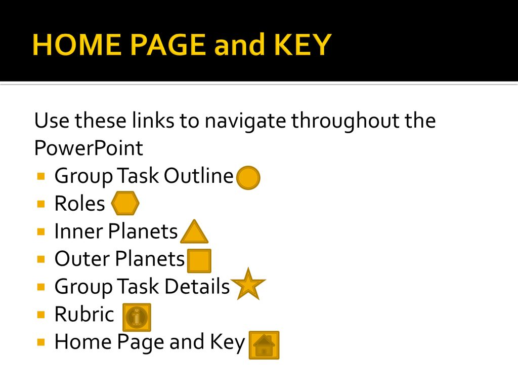 HOME PAGE and KEY Use these links to navigate throughout the PowerPoint. Group Task Outline. Roles.