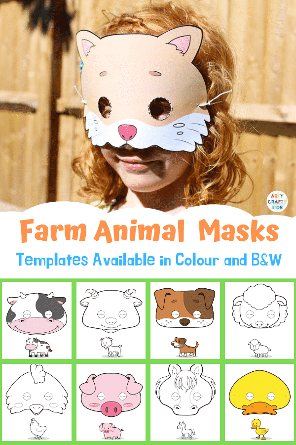 Printable Farm Animal Masks for Kids. With a choice of 9 different farm animal masks to print and colour. Perfect for a farm animal lesson plan or farm animal crafting at home #facemasks #animalcrafts #craftsforkids #kidscrafts